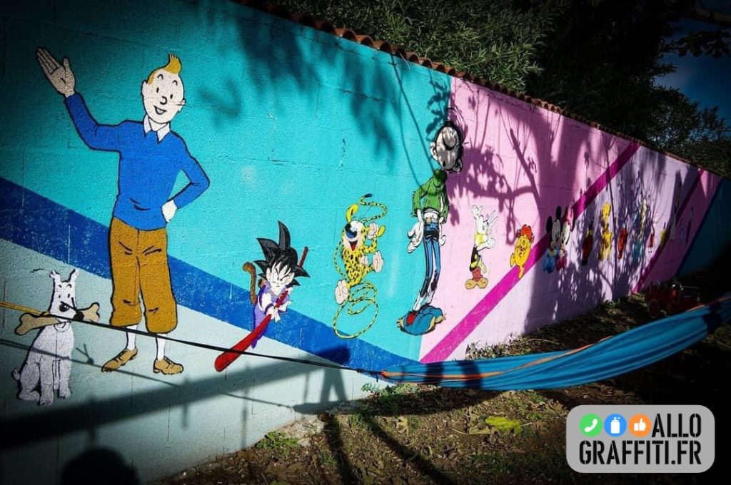Extrait de la fresque graffiti cartoon